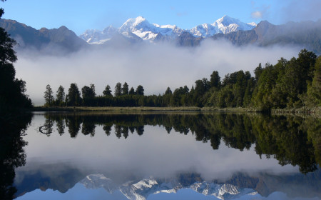 Early morning reflection on Lake Matheson Fox Glacier taken by Kaye Wilson from The Adventure Centre